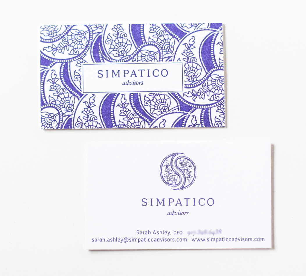One color letterpress business cards |  identity and branding by Iwona Konarski  |   www.iwonak.com   |  #logo #branding #idenitity #design #letterpress
