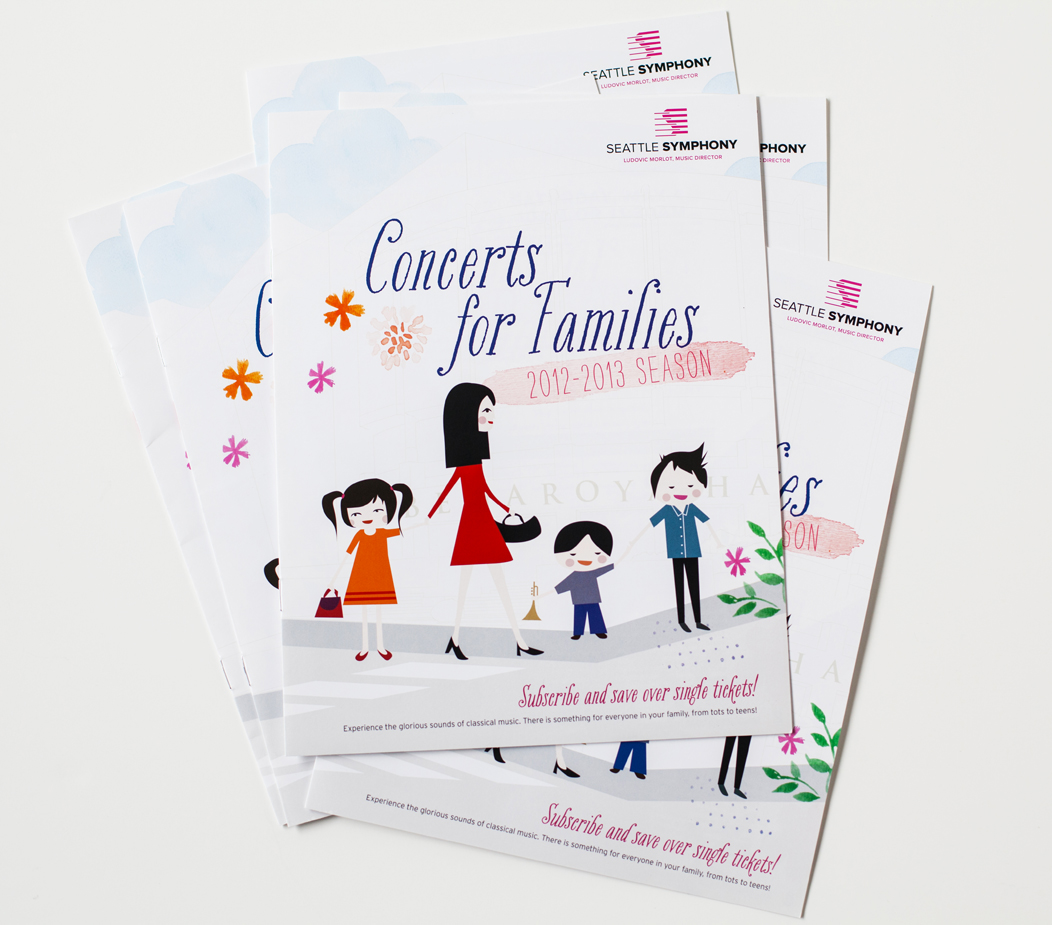 Seattle Symphony's #family #brochure by Iwona Konarski  |  #illustration #layout #design #print #catalogue #iwonak.com