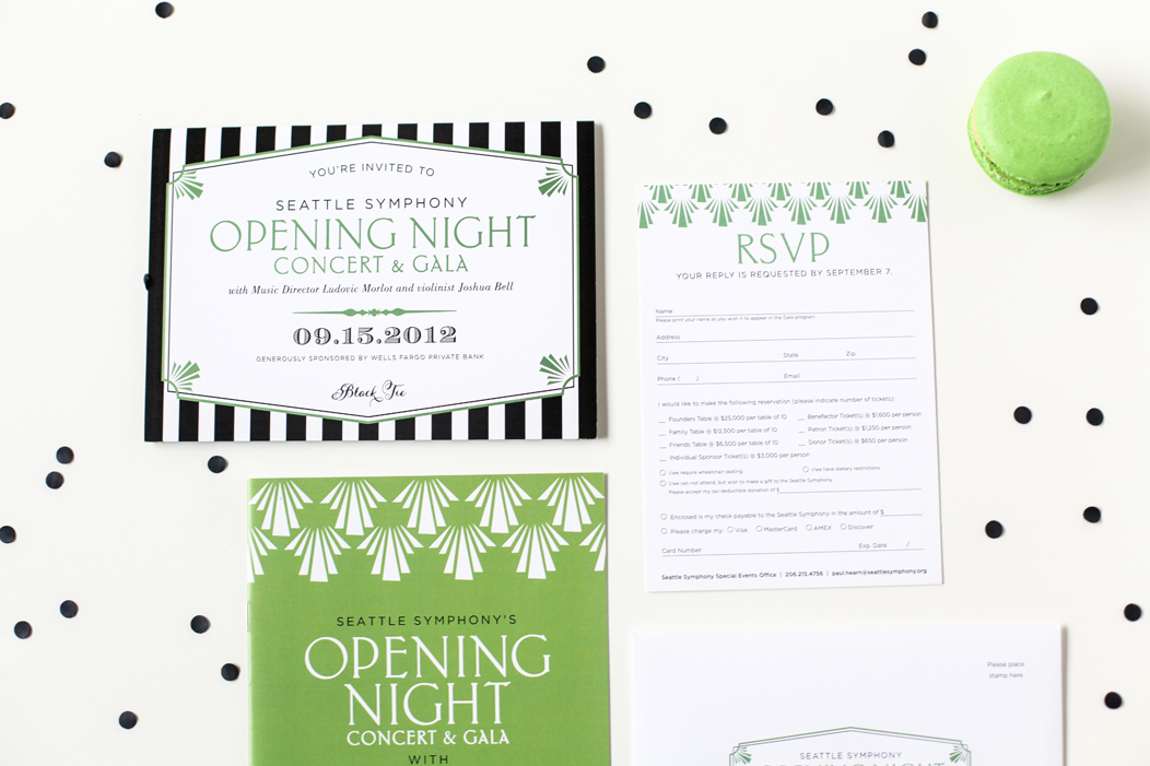 2012 Seattle Symphony Opening Night stationery designed by Iwona Konarski |  www.iwonak.com  |   #modern #stripes #2color #brightgreen #blackandgreen #stationery #event #invitation #trifold #gatsbystyle