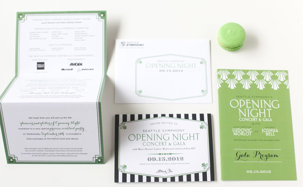 Gatsby inspired 2012 Seattle Symphony Opening Night stationery designed by Iwona Konarski |  www.iwonak.com  |   #modern #stripes #2color #brightgreen #blackandgreen #stationery #event #invitation #trifold