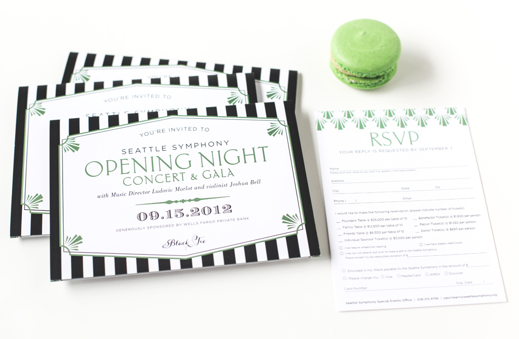 2012 Seattle Symphony Opening Night stationery designed by Iwona Konarski |  www.iwonak.com  |   #modern #stripes #2color #brightgreen #blackandgreen #stationery #event #invitation #trifold
