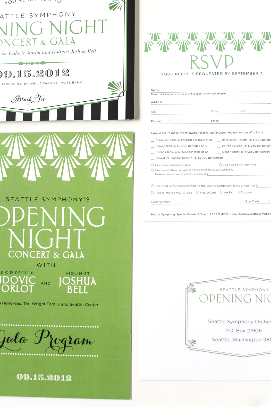green, black and white Opening Night stationery designed by Iwona Konarski |  www.iwonak.com  |   #modern #stripes #2color #brightgreen #blackandgreen #stationery #event #invitation #trifold