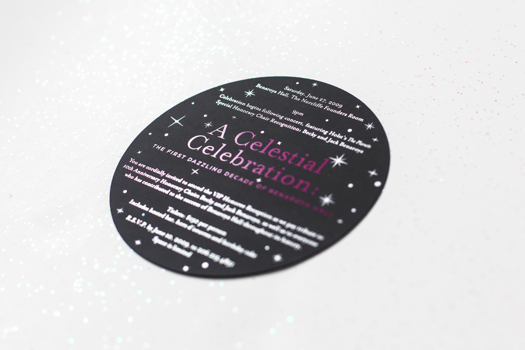 Elegant event invitation printed with shiny silver foil and matte pink foil on luxurious black stock  | Art direction and design by Iwona Konarski  |  www.iwonak.com  |  #FoilInvitation #silverFoil #pinkFoil #silver #foil #invitation #event #eventInvitation #iwonak