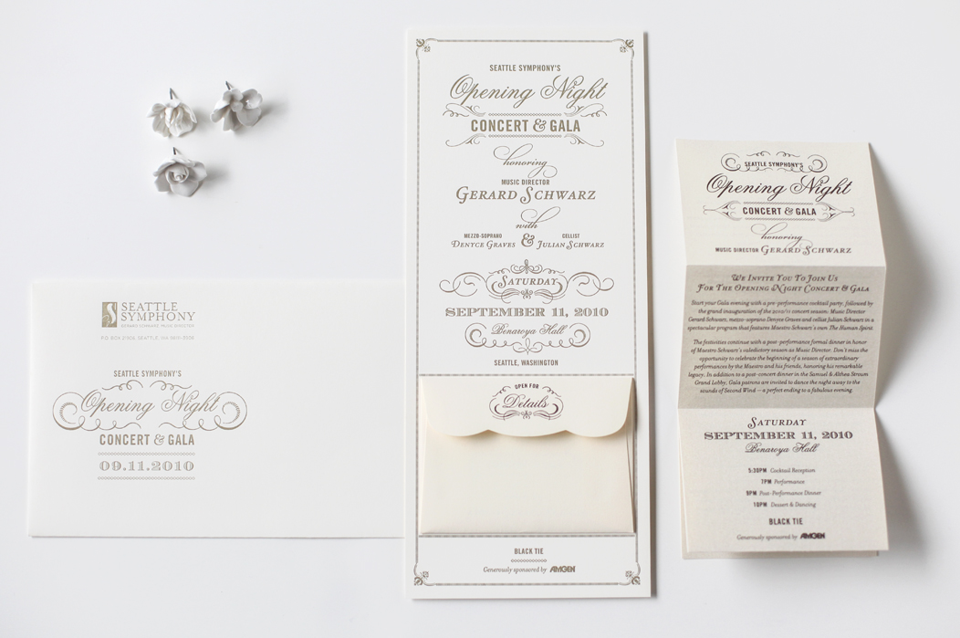 Opening NIght Gala #letterpress #Invitation printed in warm grey on Neenah Classic Crest heavy paper stock  |  Designed by Iwona Konarski  – www. iwonak.com  |  #warmgrey #invitation #elegant #eventstationery #letterpressed #oversized