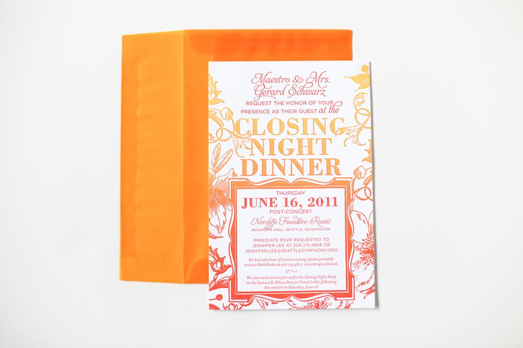 2011 Closing Night gala invitation / split ink fountain letterpress invitation. #iwonak #letterpress #splitink #corporateinvitation