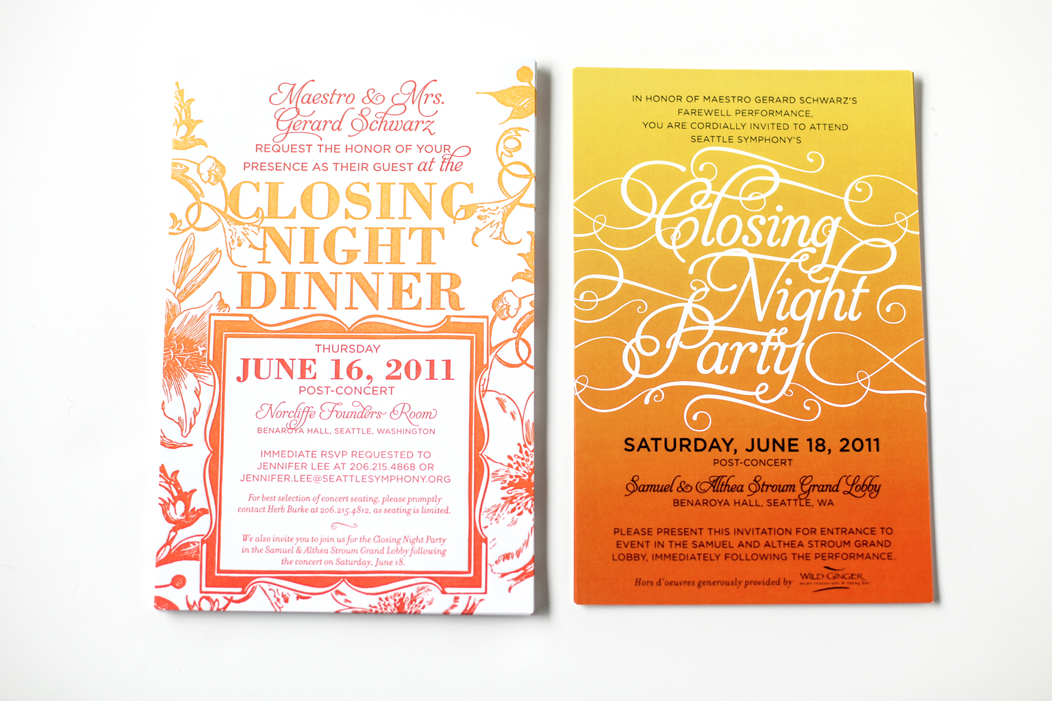 2011 Closing Night gala invitation and ombre save the date / split ink fountain letterpress invitation. #iwonak #letterpress #splitink #ombre #corporateinvitation