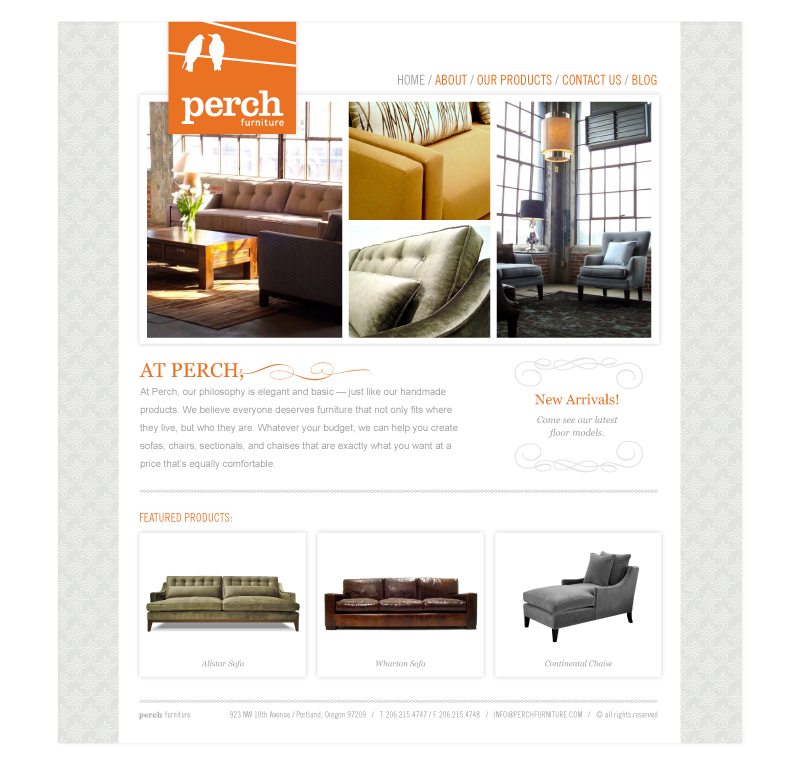 Perch Furniture Website home