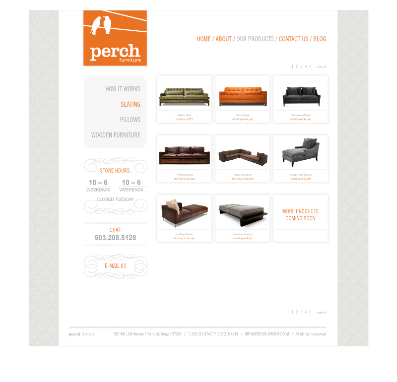 Perch Furniture Website product