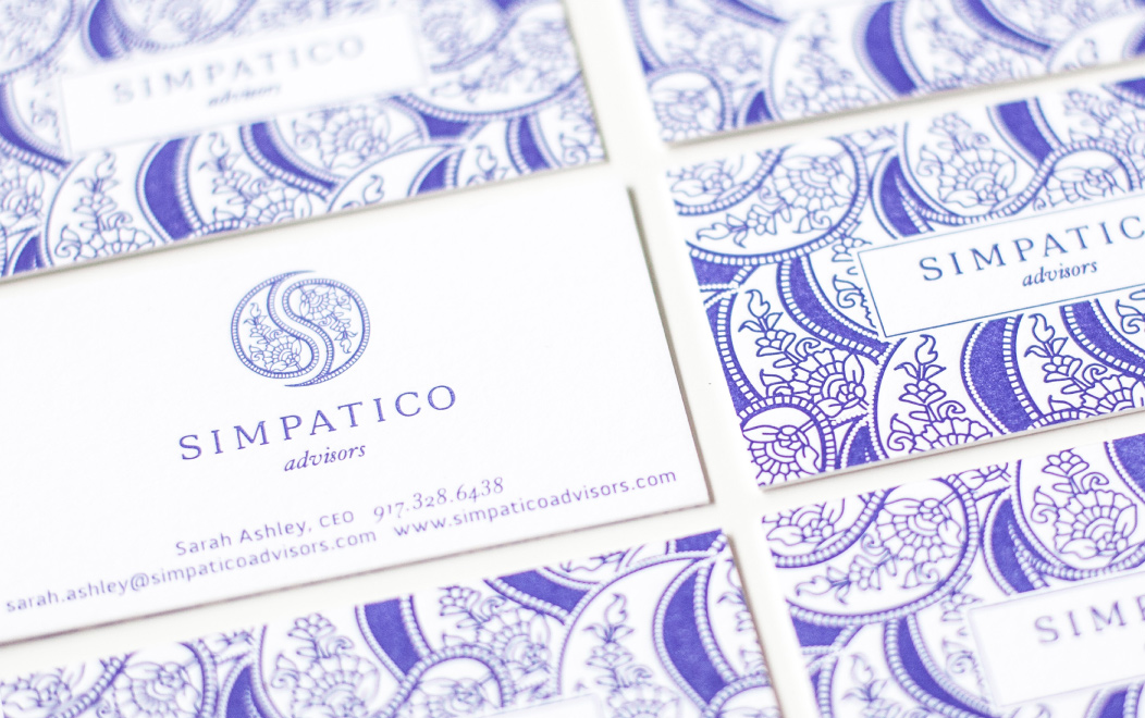 Simpatico Advisors Letterpress Business Cards