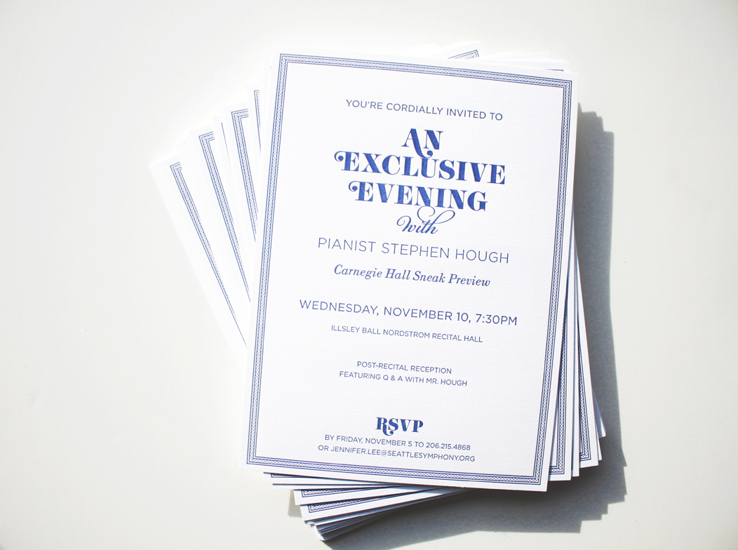 Elegant navy #letterpress event invitation | Designed by Iwona Konarski  |  www.iwonak.com  |  #letterpressinvite #invitation #event #eventInvitation #iwonak