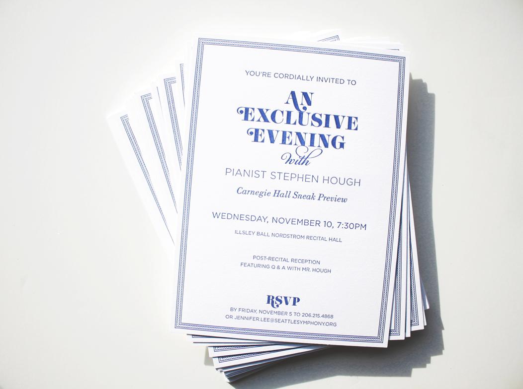 Elegant navy #letterpress event invitation | Designed by Iwona Konarski  |  www.iwonak.com  |  #letterpressinvite #invitation #event #eventInvitation #iwonak