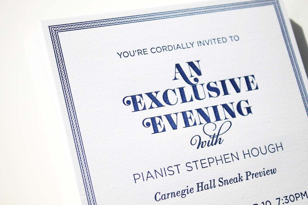 Elegant navy letterpress event invitation | Designed by Iwona Konarski  |  www.iwonak.com  |  #letterpressinvite #navy #navyletterpress #invitation #event #eventInvitation #iwonak