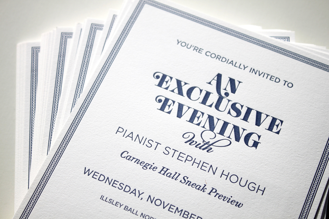 letterpress event invitation | Designed by Iwona Konarski. Navy ink on white heavy stock  |  www.iwonak.com  |  #letterpressinvite #navy #navyletterpress #invitation #event #eventInvitation #iwonak