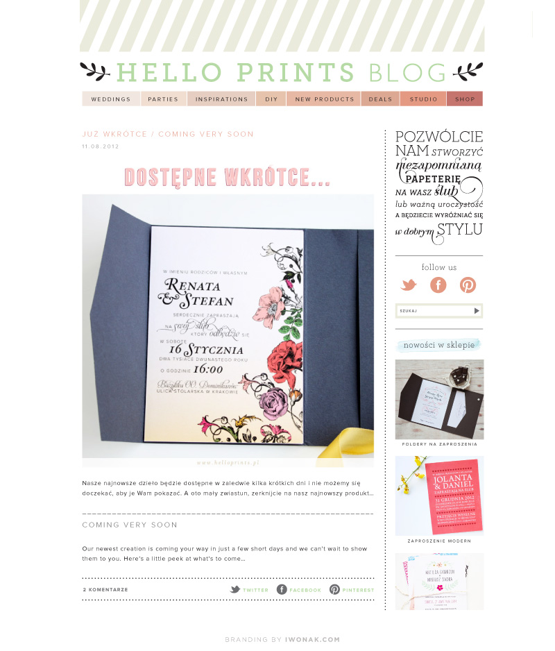 HelloPrints.pl Website and Blog design