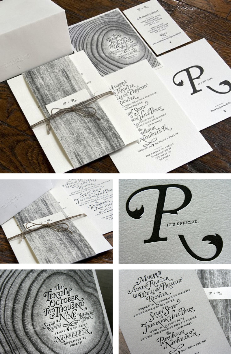 Letterpress wedding invitations from Perky Bros