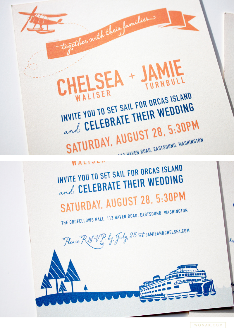 Nautical wedding invitations in blue and orange color palette | Illustration and design by Iwona Konarski #wedding #invitation #design #stationery #details #nautical #iwonak.com