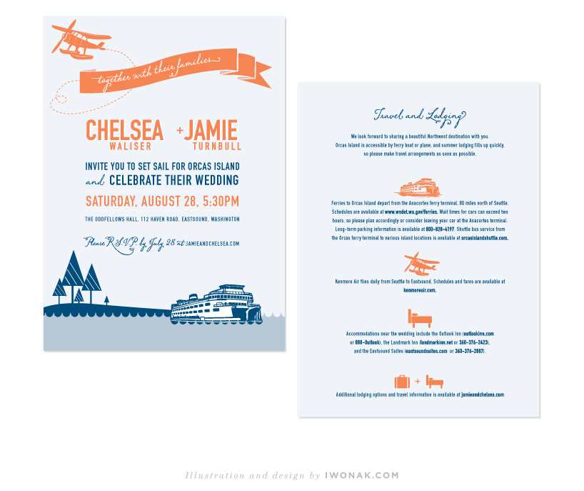 Nautical wedding invitations in blue and orange color palette | Illustration and design by Iwona Konarski #wedding #invitation #design #stationery #details #nautical #iwonak.com #seattle #stationeere