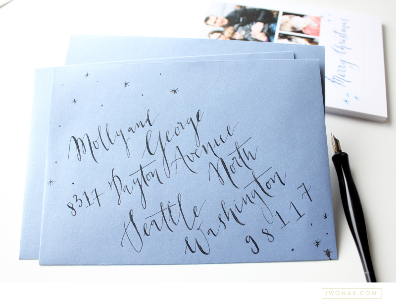 Our Holiday Cards 2013 envelope calligraphy