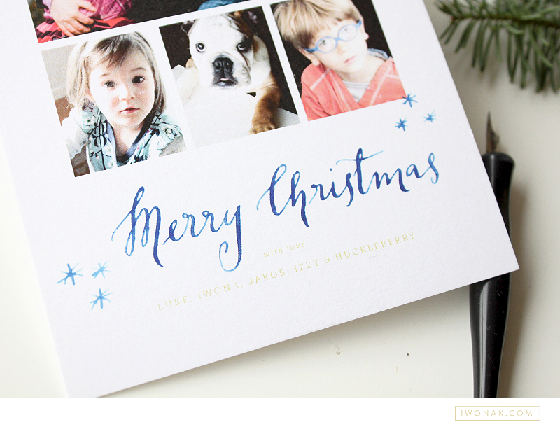 Our Holiday Cards 2013 watercolor calligraphy closeup