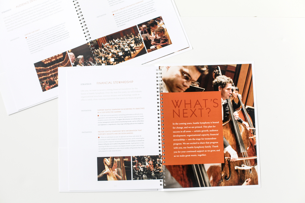 Seattle Symphony Strategic Plan by Iwona Konarski #print #design #layout #letterpress #editorial #modern #clean #graphicDesign #brochure #strategicPlan #symphony #iwonak.com