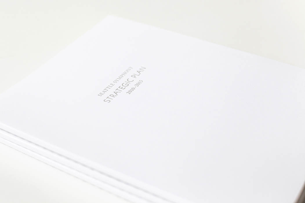 Elegant and modern Seattle Symphony Strategic Plan | Art direction and design by Iwona Konarski #print #design #layout #letterpress #editorial #modern #clean #graphicDesign #brochure #strategicPlan #symphony #modern #iwonak.com