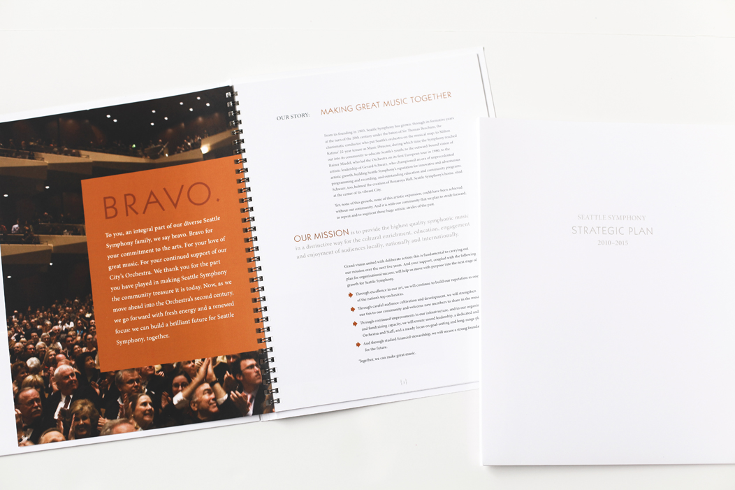 Elegant and modern Seattle Symphony Strategic Plan | Art direction and design by Iwona Konarski #print #design #layout #letterpress #editorial #modern #clean #graphicDesign #brochure #strategicPlan #symphony #iwonak.com
