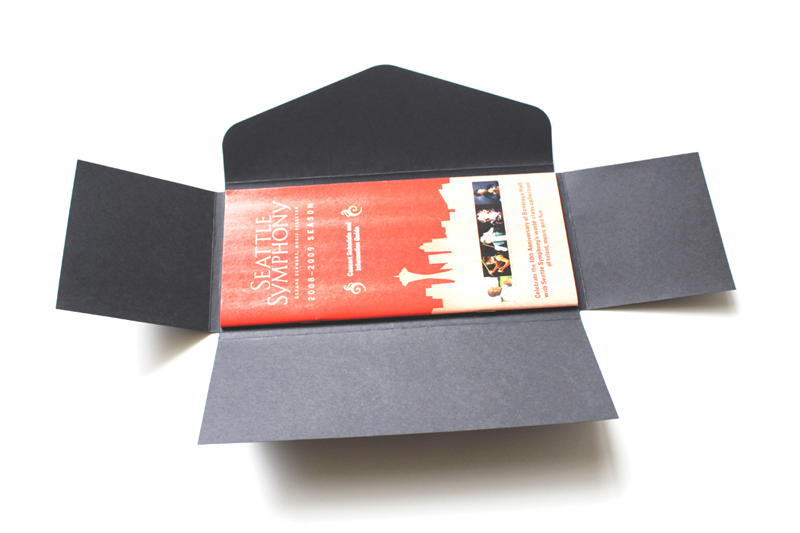 Red shiny foil on black paper |  beautiful season ticket packets for Seattle Symphony  |   www.iwonak.com