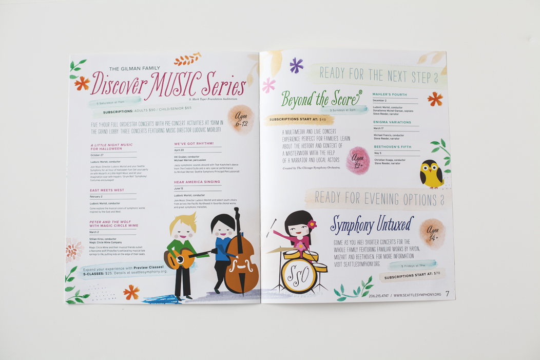 Seattle Symphony's family brochure by Iwona Konarski  |  #family #brochure #illustration #layout #design #print #catalogue #iwonak.com