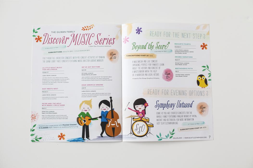 Seattle Symphony's family brochure by Iwona Konarski  |  #family #brochure #illustration #layout #design #print #catalogue #iwonak.com
