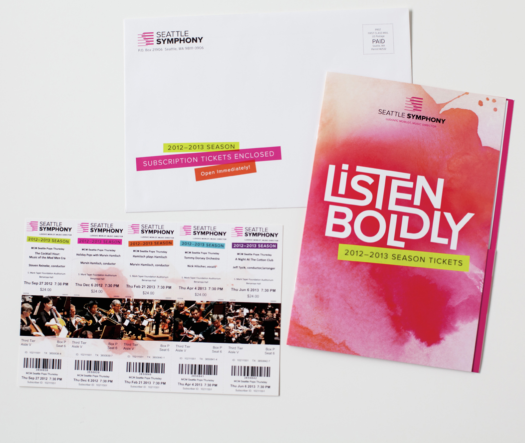 Seattle Symphony's 1213 season tickets folder  |  Art direction and design by Iwona Konarski  | #print #design #artdirection #packaging #watercolor #bold |   www.iwonak.com