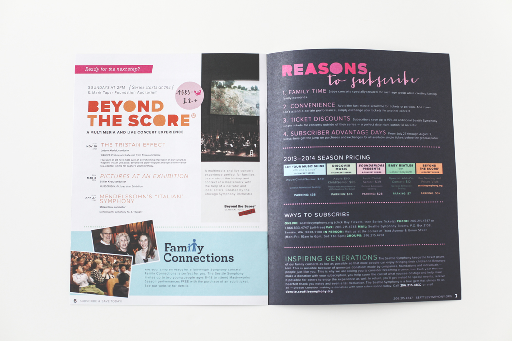 Seattle Symphony's 1314 season #family #brochure by Iwona Konarski  |  #layout #design #typography #print #catalogue #iwonak.com