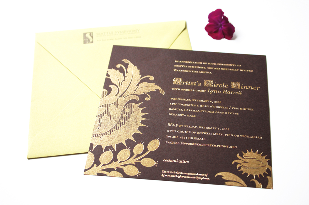 Amazing gold foil on brown paper stock |  Event invitations by Iwona Konarski | iwonak.com
