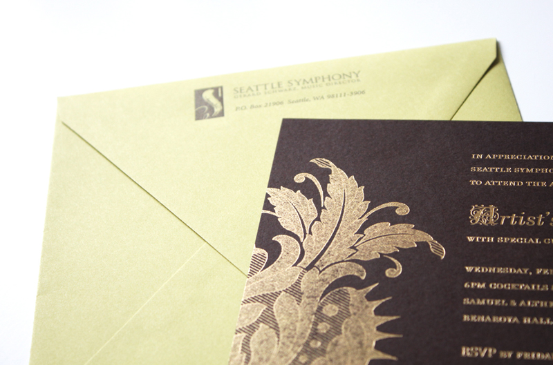 Gold foil on brown paper |  Event invitations by Iwona Konarski | iwonak.com