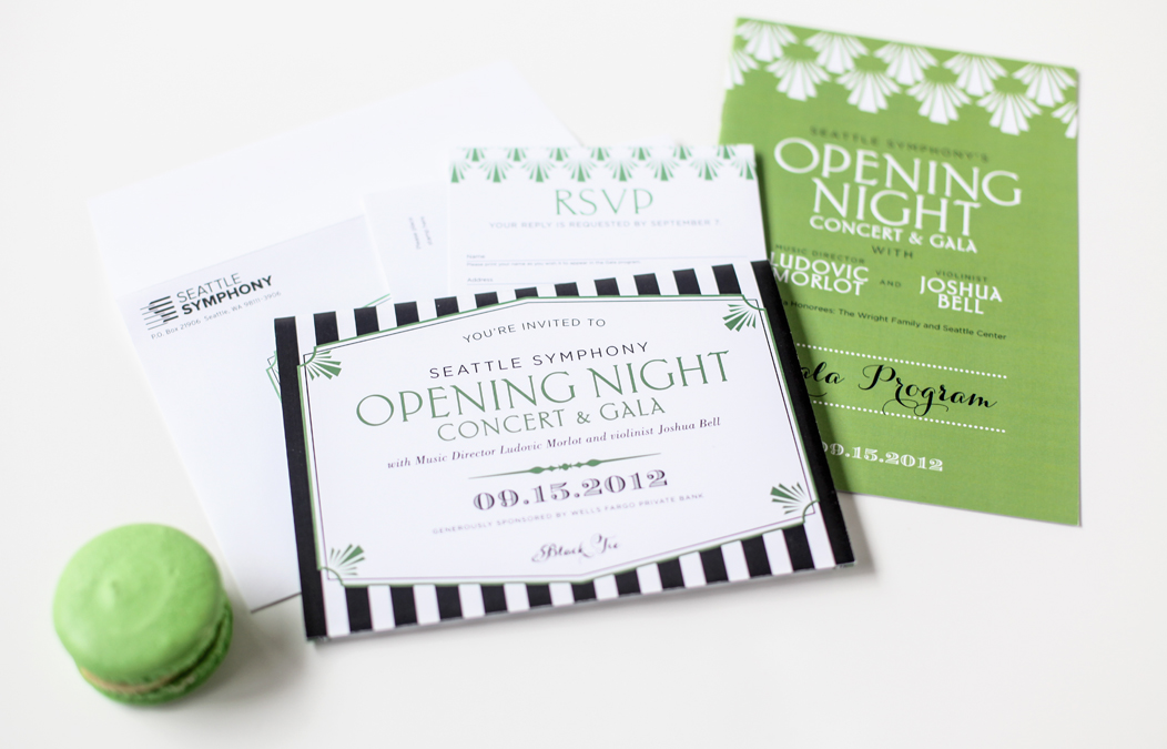 2012 Seattle Symphony Opening Night stationery design | Tri-fold, black and green invitation |  #modern #stripes #2color #brightgreen #blackandgreen #stationery #event #invitation #trifold  |  Designed by Iwona Konarski 1