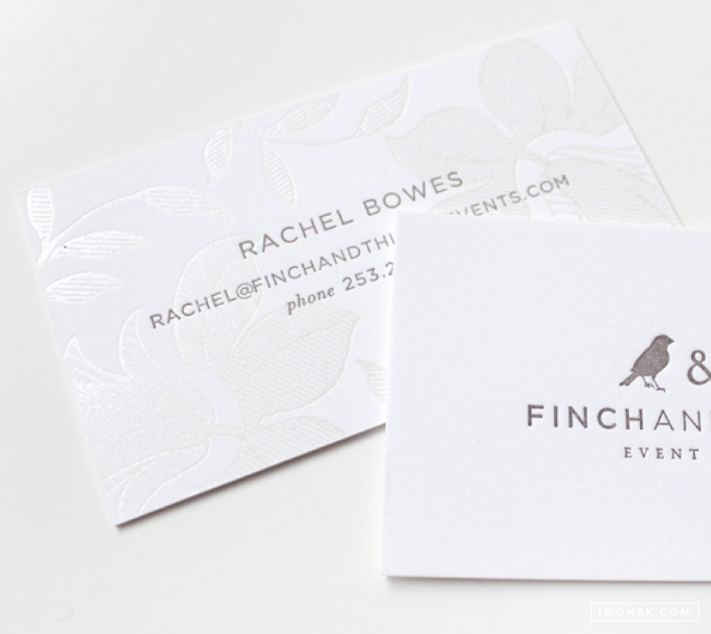 Pearl #foil stamp and warm gray #letterpress printed business card     design by Iwona Konarski @iwonak.com     #branding #stationery #businesscard #letterpressed