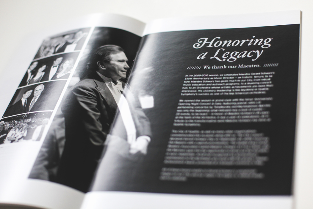 Annual report spread  |  Designed by Iwona Konarski for Seattle Symphony  |  #layout #design #annualreport #foil #silverfoil #blackandwhite #print   www.iwonak.com