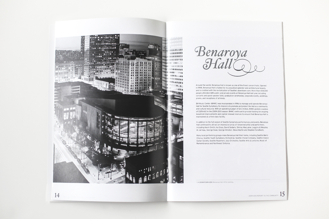 Spread from the Annual Report |  Designed by Iwona Konarski for Seattle Symphony  |  #layout #design #annualreport #foil #silverfoil #blackandwhite #print   www.iwonak.com