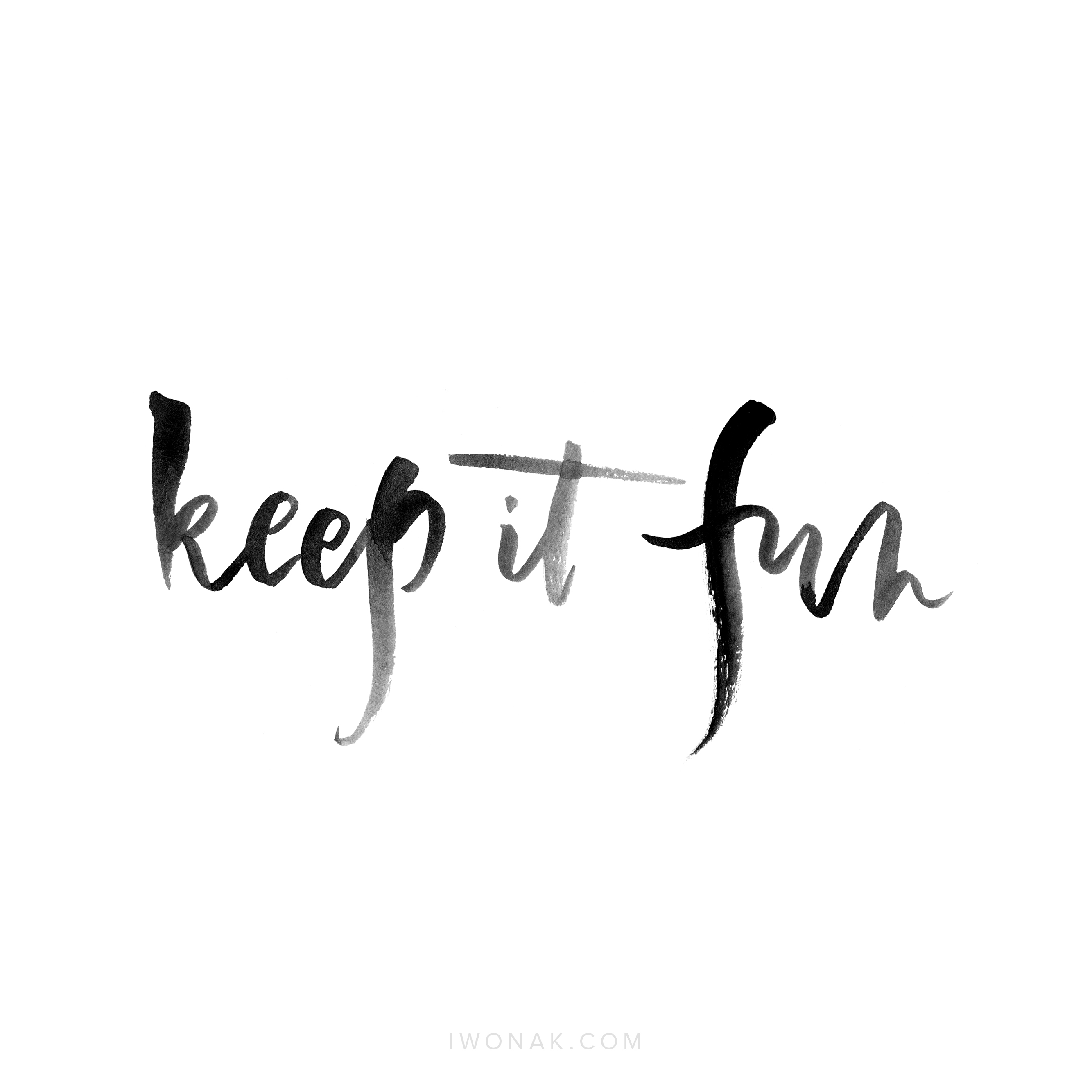 Keep it fun  | Watercolor hand lettering by Iwona Konarski