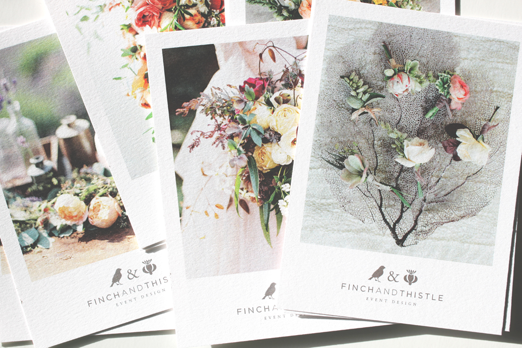 Promo Postcards by IwonaK for Finch & Thistle Events | #print #selfpromo #promo #postcard #design #iwonak