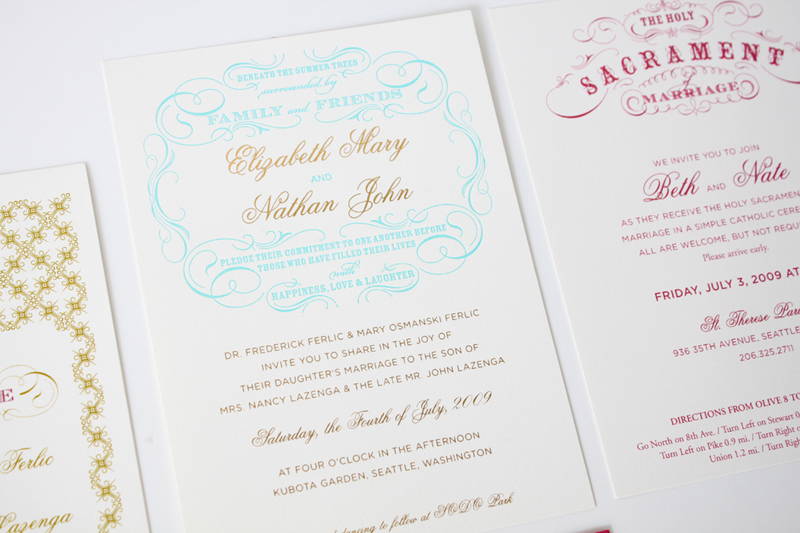 Gold foil and turquoise letterpress wedding invitation suite by IwonaK.com
