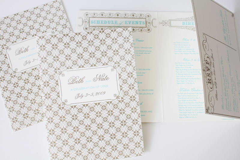 gold and turquoise letterpress wedding details and rsvp card / custom wedding stationery / design by iwonak.com // #invitations #seattlewedding #weddinginvitations #iwonak #foil #gold #letterpress
