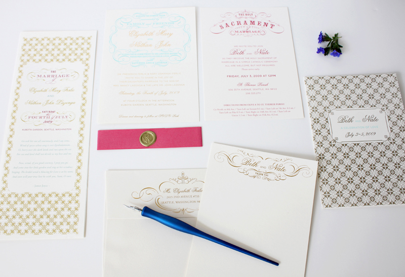 gold foil and letterpress  / custom wedding stationery / design by iwonak.com // #invitations #seattlewedding #weddinginvitations #iwonak #foil #gold #letterpress