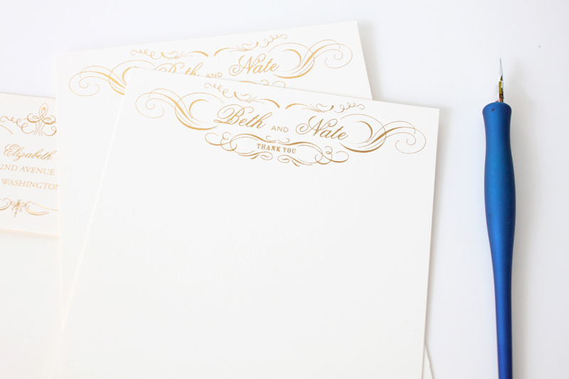 custom gold foil thank you cards / custom wedding stationery / design by iwonak.com // #invitations #seattlewedding #weddinginvitations #iwonak #foil #gold #letterpress