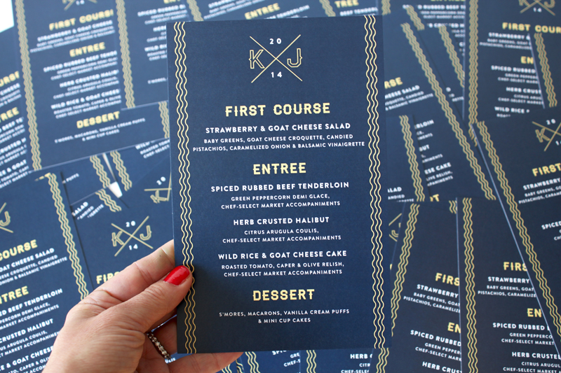 Custom wedding menu by seattle designer IwonaK.com