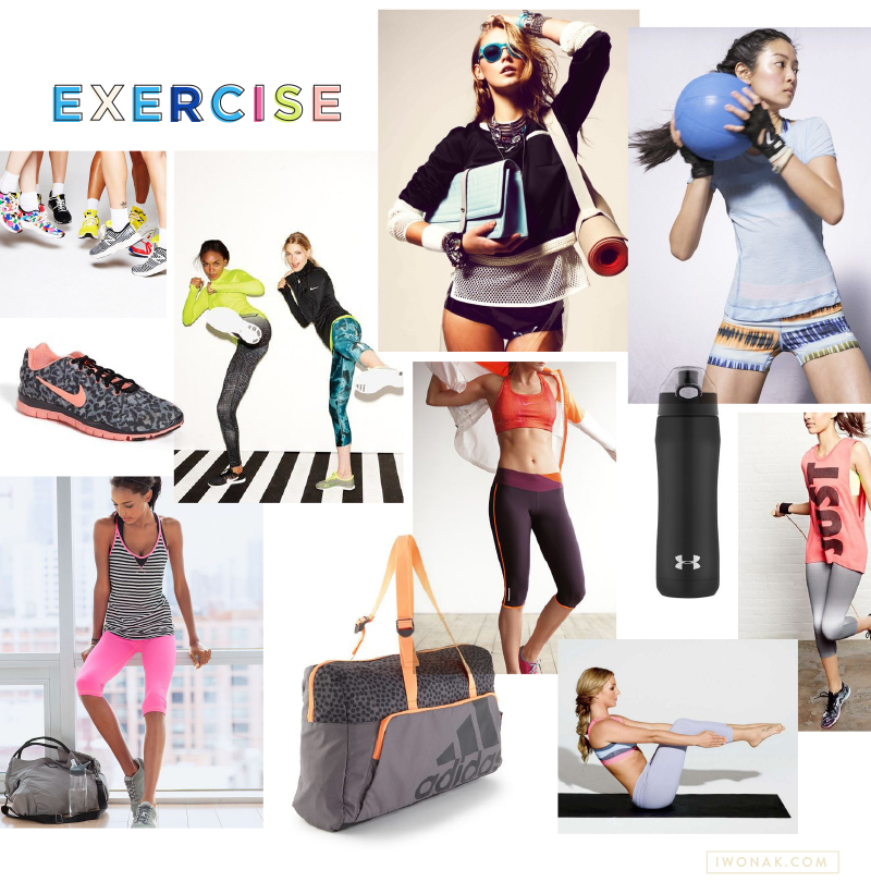 Exercise | Fitness | Fashion |  Mood Board |  by IwonaK.com